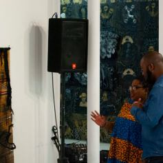 Thina Dube at the opening reception