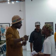 Ronald Muchatuta with Sindiso Nyoni at the opening reception